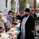 Orel, Russia - April 30, 2016: Paschal blessing of Easter basket Stock Images