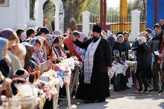 Orel, Russia - April 30, 2016: Paschal blessing of Easter basket Royalty Free Stock Images