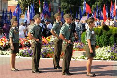 Orel, Russia - August 5, 2015: boys and girls standing in guard Royalty Free Stock Photo