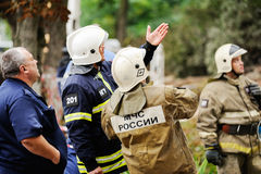 Orel, Russia, August 29, 2017: Collapse of old apartment house. EMERCOM team at work selective focus Stock Photography
