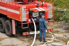 Orel, Russia - August 28, 2015: Fire engine in action operated b Stock Photos