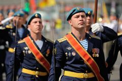 Orel, Russia - August 5, 2015: military men marching in parade i Royalty Free Stock Photo