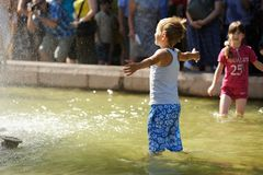 Orel, Russia - August 05, 2016: Orel city day. Children playing Royalty Free Stock Images