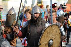 Orel, Russia - August 05, 2016: Orel city day. Men in medieval a Stock Photography