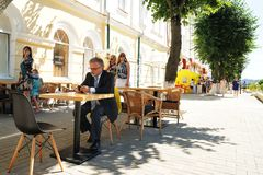 Orel, Russia - August 05, 2016: Orel city day. Senior lonely man Stock Photography
