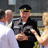 Orel, Russia - August 05, 2016: Orel city day. Sergey Kalashkino. V, colonel of FSO giving interview closeup stock photography