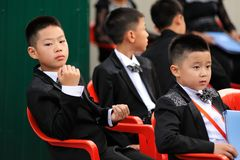 Orel, Russia - August 05, 2016: Orel city day. Young Chinese mus Royalty Free Stock Images