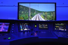 Orel, Russia - August 24, 2015: Russian engine-driver simulator simulators Royalty Free Stock Photography