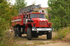 Orel, Russia - August 28, 2015: Russian fire engine in country r Stock Photo