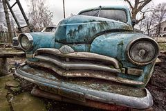 Orel, Russia - Circa 2016: Aged vintage soviet blue retro car Gaz M20 `Pobeda` stock photo