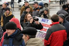 Orel, Russia - December 05, 2015: Truck drivers picket. Camera m Royalty Free Stock Photo