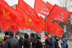 Orel, Russia - December 05, 2015: Truck drivers picket. Crowd of Stock Image