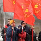 Orel, Russia - December 05, 2015: Truck drivers picket. Young me Stock Images