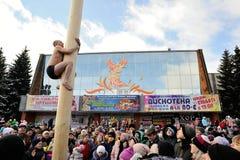Orel, Russia - 26 febbraio 2017: Uomo non condito del fest di Maslenitsa Fotografie Stock