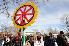 Orel, Russia - February 26, 2017: Maslenitsa fest. Pagan Kolovra Royalty Free Stock Photography