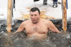 Orel, Russia - 19 gennaio 2016: DES russo dell'uomo di festività di epifania Fotografia Stock
