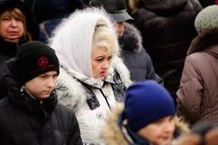 Orel, Russia, il 18 febbraio 2018: Carnevale di Maslenitsa Wom senior Immagini Stock Libere da Diritti