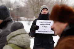Orel, Russia, January 28, 2018: Election protest supporting Alex stock photo