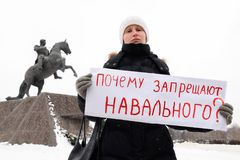 Orel, Russia, January 28, 2018: Election protest supporting Alex stock image