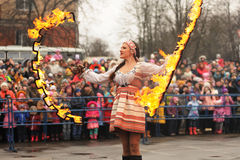 Orel, Russia - March 13, 2016: Maslenitsa, Pancake festival. Fir Stock Photo