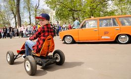 Free Orel, Russia - May 01, 2017: Auto Picnic. Vintage Soviet Car VAZ 2102 And Boy On Quad Bike Stock Photos - 92906623