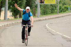 Orel, Russia - May 31, 2015: Bikeday, man cycling on the street Stock Images