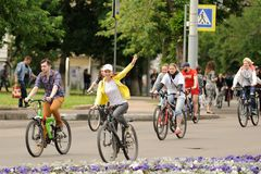 Orel, Russia - May 31, 2015: Bikeday, people cycling on the stre Stock Image