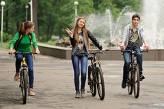 Orel, Russia - May 31, 2015: Bikeday, teens cycling in park Stock Images