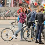 Orel, Russia - May 31, 2015: Bikeday, young woman with bike Stock Photo