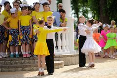 Orel, Russia - May 01, 205: Children's Day, two pairs of childre Royalty Free Stock Photo