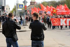 Orel, Russia - May 1, 2016: Communist party demonstration. Young Royalty Free Stock Photo
