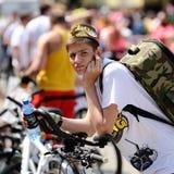 Orel, Russia - May 29, 2016: Russian Bikeday in Orel. Boy with b. Ike looking at camera closeup Stock Photos