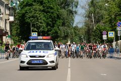 Orel, Russia - May 29, 2016: Russian Bikeday in Orel. Police car Royalty Free Stock Images