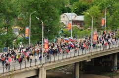 Orel, Russia - May 9, 2017: Victory Day selebration. Huge crowd Stock Photography