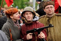 Orel, Russia - May 9, 2017: Victory Day selebration. Red haired Stock Image