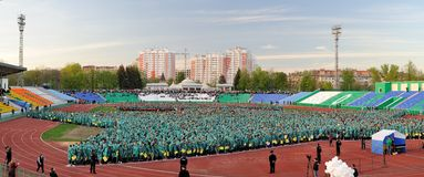 Orel, Russia, May 07, 2015, Victory Guinness Record: people form Royalty Free Stock Photo
