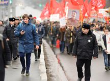 Orel, Russia - November 07, 2016: Communist meeting. Policeman l royalty free stock photos