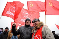 Orel, Russia - November 07, 2016: Communist meeting. Young peopl Stock Images