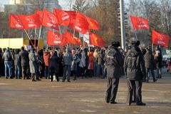 Orel, Russia - 29 novembre 2015: Protesta russa degli autisti di camion fotografia stock libera da diritti