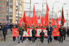 Orel, Russia - 7 novembre 2015: Riunione del partito comunista peop Fotografia Stock