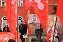 Orel, Russia - 7 novembre 2015: Riunione del partito comunista stalin Fotografia Stock Libera da Diritti