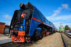 Orel, Russia, September 28, 2018: Old Vintage Steam Soviet Locomotive P36 Serries At Railway Station In Sunny Day Stock Images