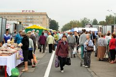 Orel, Russia, September 5, 2015: Crowd of people at autumn fair. In central square horizontal Stock Photo