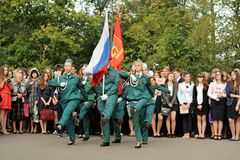 Orel, Russia - September 1, 2015: Girls and boys marching with R Royalty Free Stock Photography