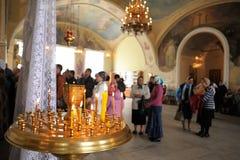 Orel, Russia - September 13, 2015: Orthodox Church Family Day. D. Ivine service in Russian orthodox Bogoyavlenskaya church in Orel horizontal royalty free stock photos