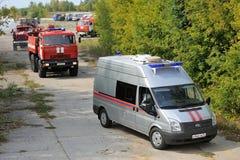 Orel, Russie - 28 août 2015 : Le feu russe e de contrôle de secours Photo libre de droits