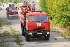 Orel, Russie - 28 août 2015 : Le feu russe e de contrôle de secours Image stock