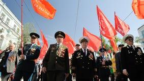 Orel, Russie - 1er mai 2017 : Démonstration de mai Vétérans mars de WWii Photo libre de droits