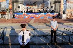 Orel, Russland, am 5. August 2017: Stadt-Tag Das Polizistschützen scen Stockfotos