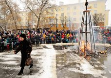 Orel, Russland, am 18. Februar 2018: Maslenitsa-Karneval Leute wat Stockbilder